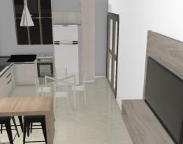 cozinha planejada alegre com MESA
