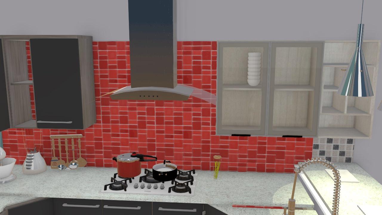 Cozinha invertida balcão diferente
