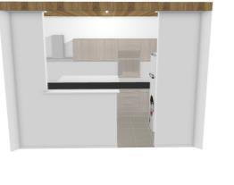 Cozinha unique com canto e geladeira