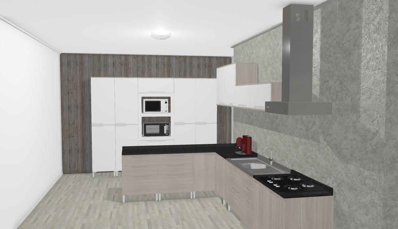 Cozinha Modulada Completa Suspensa com 15 Módulos Solaris 100% MDF Carvalle/Branco - Kappesberg