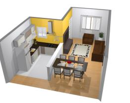 Cozinha esticada, sala estar e jantar