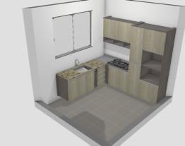 cozinha com torre forno e geladeira e armario  superior