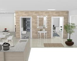 Casa moderna com 2 quartos, sendo 1 suíte, 1 quarto/escritório, 1 banheiro social, 1 cozinha grande, 1 sala de estar e uma lavanderia.