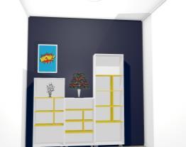 Conjunto de Estantes para Escritório/Sala de Estar Branco/Amarelo - Politorno