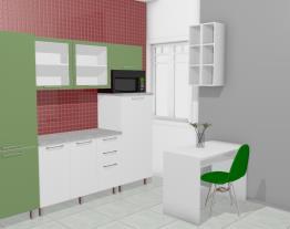Cozinha Modulada em Aço Completa 5 Módulos Play Branco Sal/Verde Chá - Casamob