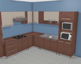 Cozinha Modulada Completa com Paneleiro com espaço para Forno e Microondas Smart Turin/Cristal - Henn