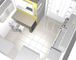 cozinha jamaris com cadeiras e  lava louça visão superior