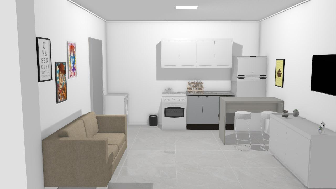 sala e cozinha apê