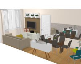 Sala de estar e jantar estreita