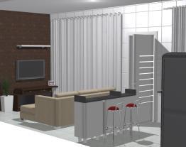 Cozinha conjugada com portas abertas, angulo de cima