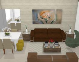 Sala de estar e jantar- Graziela Lara