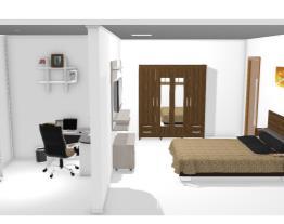 Quarto, banheiro e escritório