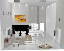 Sala e cozinha pé direito duplo - Graziela Lara