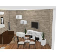 sala com papel de parede de pedra pronta