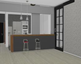 cozinha aberta com pilar e porta industrial