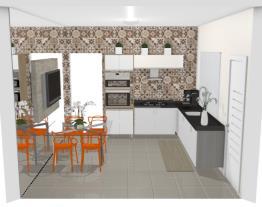 Cozinha pequena com mesa de jantar - Graziela Lara
