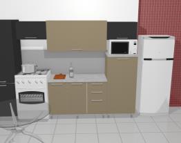 Cozinha Modulada em Aço Completa 6 Módulos Play Preto Jabuticaba/Bege Baunilha - Casamob