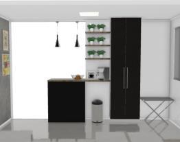 vista da sala para a cozinha