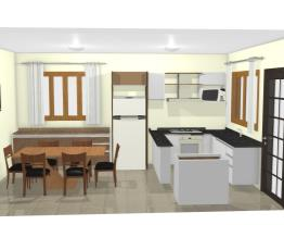 Cozinha L  armário e geladeira sala jantar 4 COM JANELA