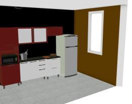 Cozinha Modulada em Aço Completa 5 Módulos Play Vermelho Páprica/Branco Sal - Casamob