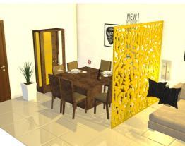 Sala jantar com cristaleira