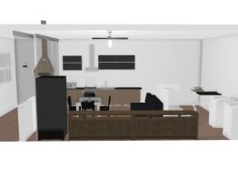 Sala TV, cozinha, lavanderia, lavabo e área gourmet