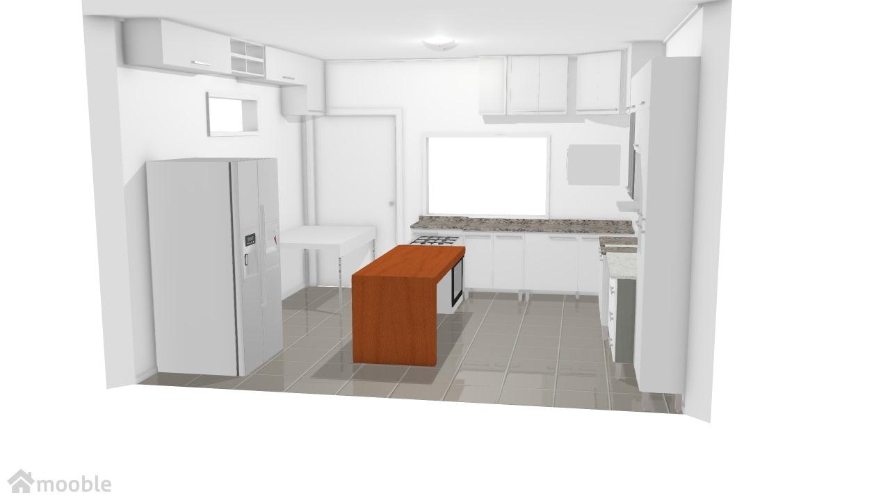 projeto cozinha com mesa acoplada fogao
