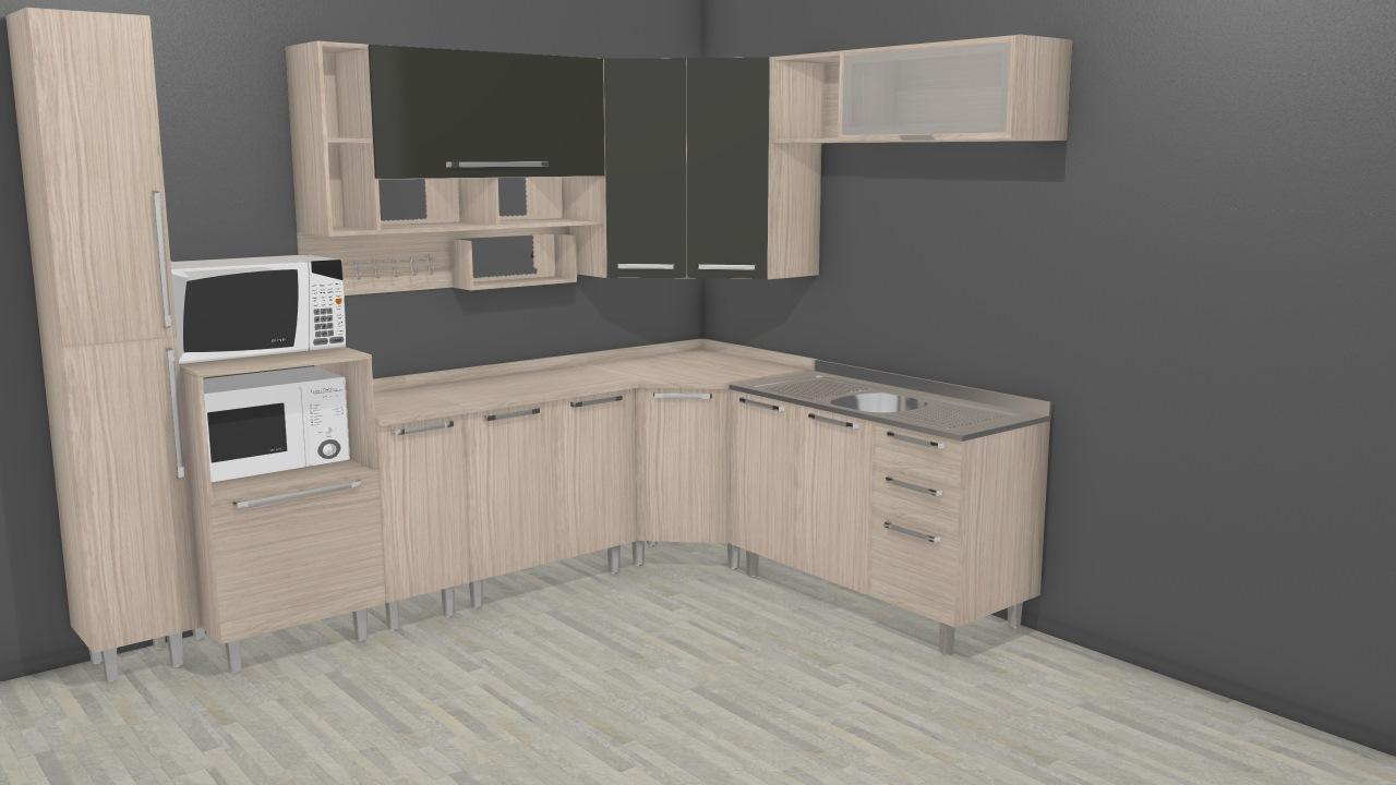 Cozinha Modulada Completa com Balcão Multifuncional Smart Fendi/Amarula - Henn