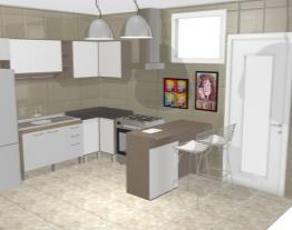 Cozinha Americana Completa com Balcão Ilha Carvalho Dover/Branco - Caaza