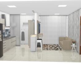 Sala + cozinha + lavanderia integrada
