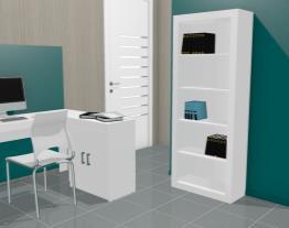 Conjunto para Escritório com Mesa para Computador/Escrivaninha e Estante Branco - Politorno
