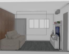 Sala de estar e jantar com cozinha integrada