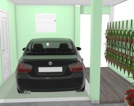Garagem com paisagismo