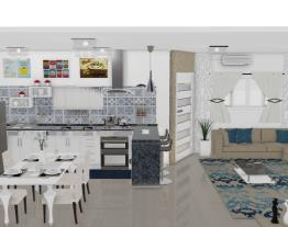 casa nova cozinha e sala opção porta diagonal