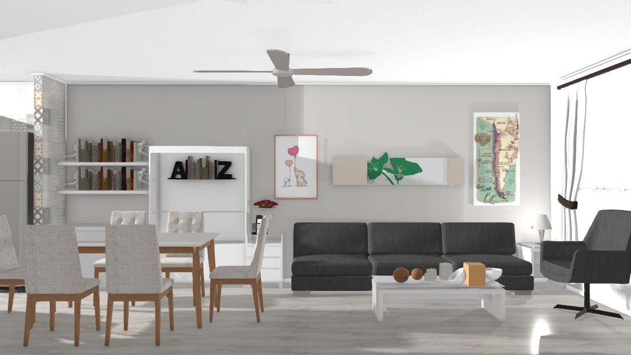Casa 01 - Sala de estar e cozinha americana
