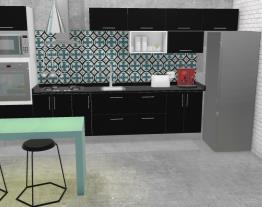 Cozinha Preta e azul.