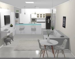 Sala e cozinha americana