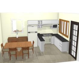 Cozinha L  armário e geladeira sala jantar