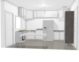 projeto cozinha com mesa parede vitrô