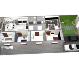 Casa com 4 quartos, 2 banheiro, piscina, área gormet, garagem e paisagismo.