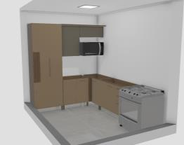cozinha aurea com paneleiro fechado e microondas
