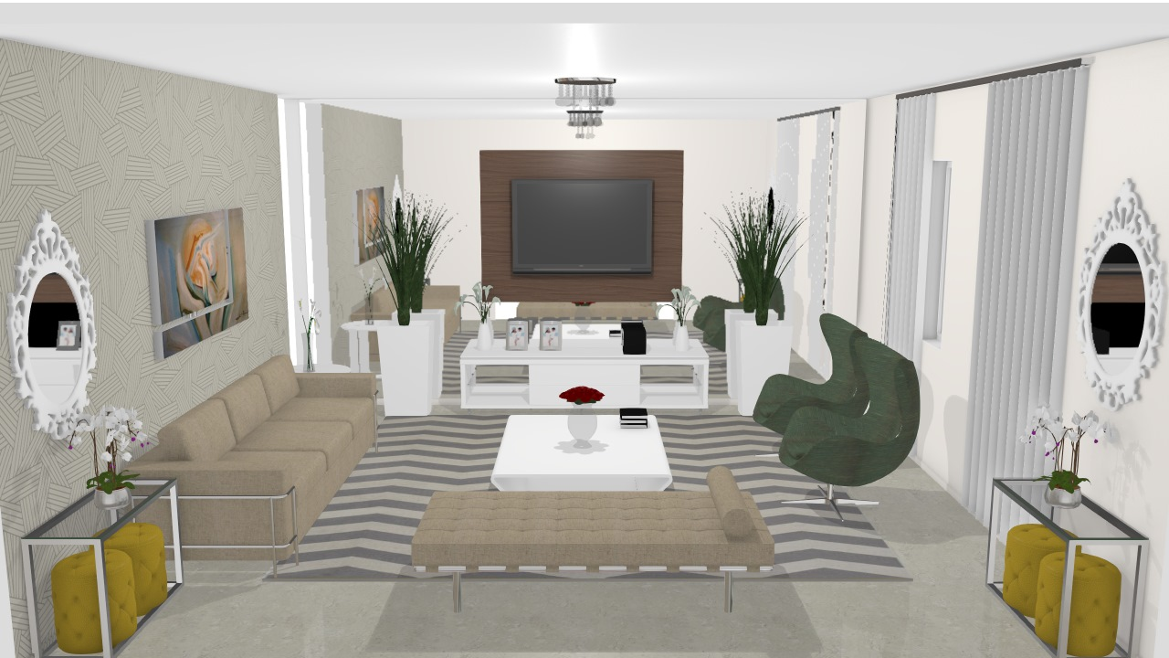 Sala de estar e home theater - Graziela Lara