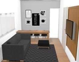 Sala madeira e una parede cinza