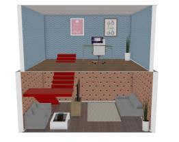 casa dois andares sala e escritorio