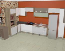 Cozinha Modulada Completa com 10 Módulos Ilhabela Carvalho Dover/Branco - Gralar
