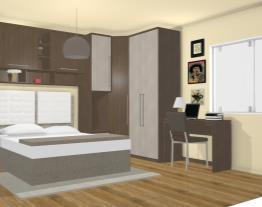 Quarto Casal com Guarda-roupas Modulados, Cabeceira e Escrivaninha Carvalho/Araucária/Branco - Caaza