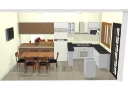 Cozinha L  armário e geladeira sala jantar 4