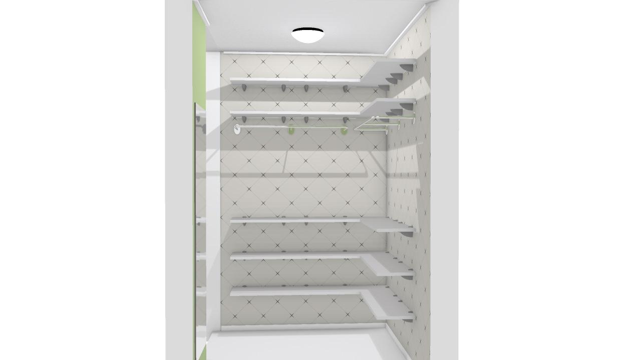 Closet com prateleiras de madeira