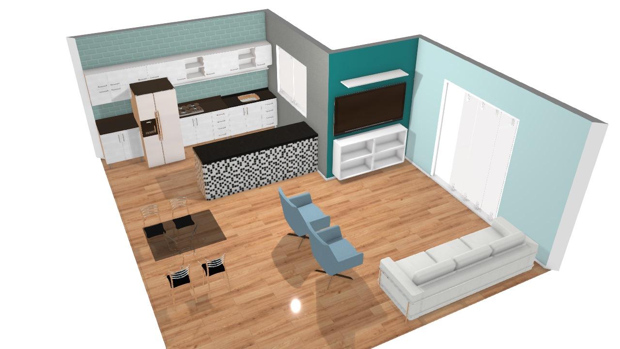 Cozinha , Sala de Estar e Jantar