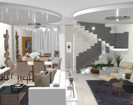 Salas estar e jantar com escada - designer Graziela Lara